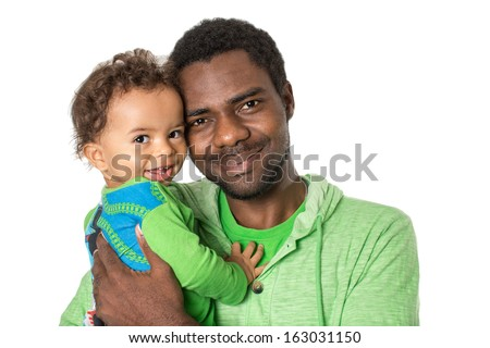 Happy black father and  baby boy cuddling on isolated white background  Use it for a child, parenting or love concept - stock photo