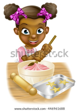Happy black girl playing at being a baker stirring a cake mix - stock photo