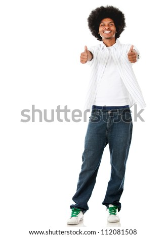 Happy black man with thumbs up - isolated over a white background