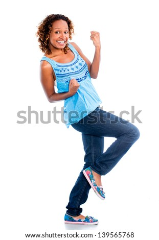 Happy black woman celebrating - isolated over a white background - stock photo