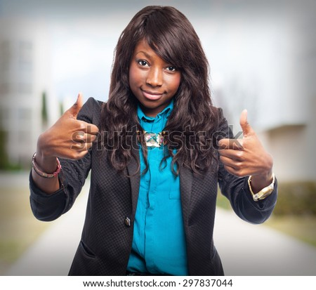 happy black-woman okay sign - stock photo