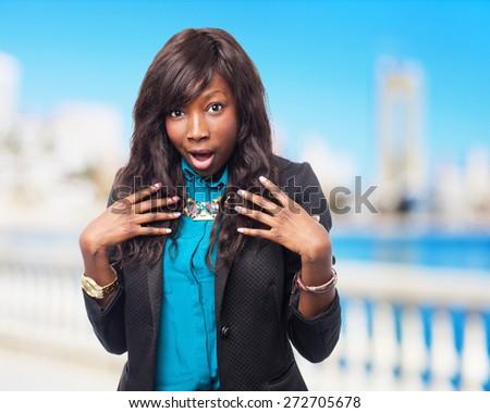 happy black-woman pointing helself - stock photo
