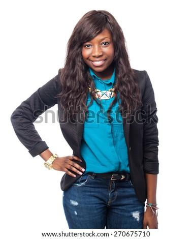 happy black-woman standing - stock photo
