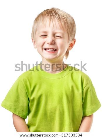 Happy blond boy blinking - stock photo