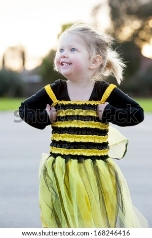 Happy Blond Little Girl Bee Costume Stock Photo Royalty Free