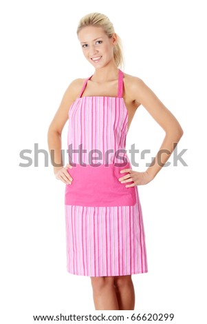 Happy blond nude woman in pink apron,isolated on white - stock photo