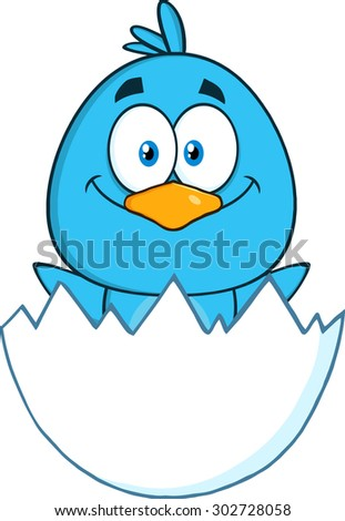 Happy Blue Bird Cartoon Character Hatching From An Egg. Raster Illustration Isolated On White - stock photo
