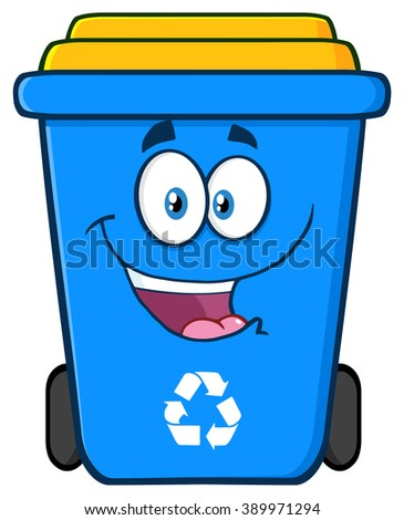 Happy Blue Recycle Bin Cartoon Character. Raster Illustration Isolated On White Background - stock photo