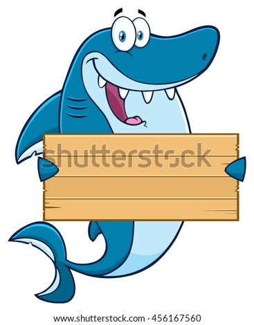 Happy Blue Shark Cartoon Mascot Character Holding A Wooden Blank Sign. Raster Illustration Isolated On White Background - stock photo