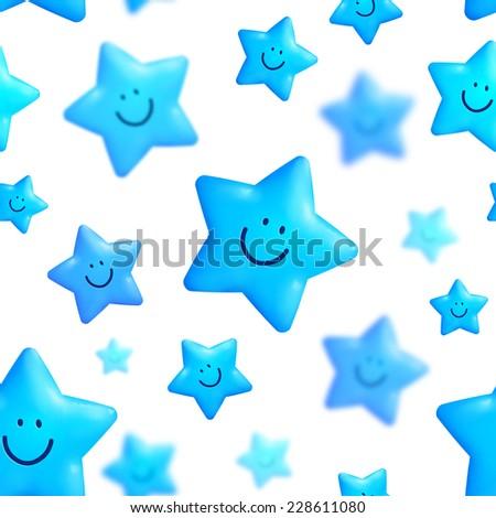 Happy blue stars seamless pattern on white background - stock photo