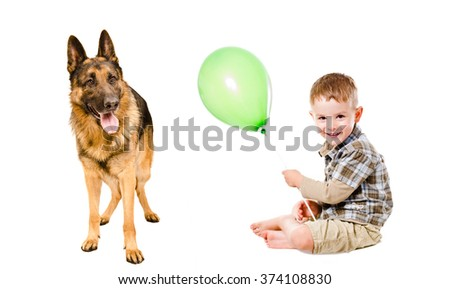 Happy boy and German Shepherd isolated on white background  - stock photo