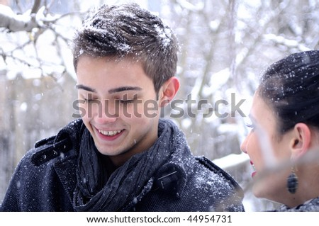 happy boy and girl - stock photo