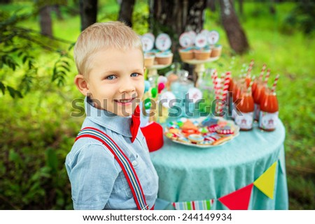 happy boy at the picnic - stock photo