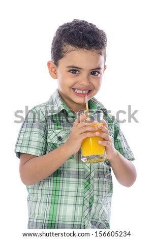 Happy Boy Drinking A Glass of Juice Isolated on White Background - stock photo