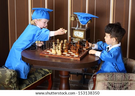 Happy boy goes white horse during a game of chess - stock photo