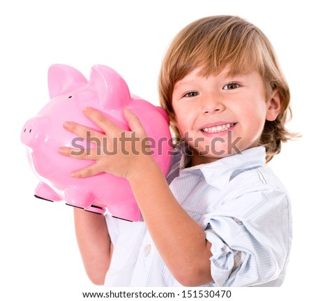 Happy boy holding a piggybank - isolated over a white background  - stock photo