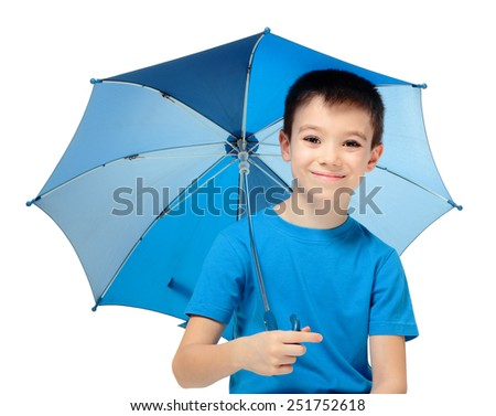 Happy boy holding blue umbrella, isolated on white background - stock photo
