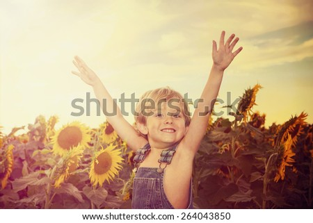 Happy boy in a field of sunflowers. Instagram effect. - stock photo
