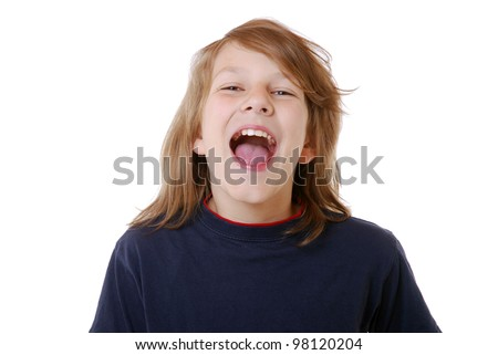 happy boy in front of white background