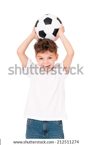 Happy boy in white T-shirt with soccer ball, isolated on white background - stock photo