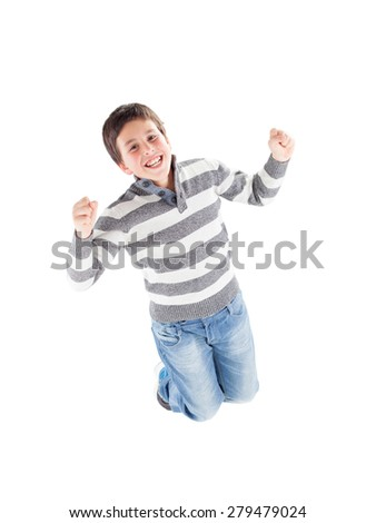 Happy boy jumping isolated on a white background - stock photo