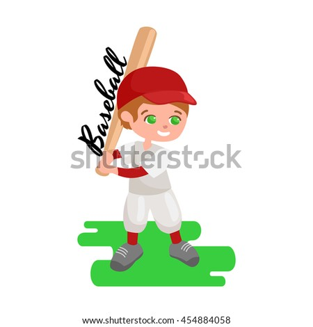 Happy boy playing baseball, kids sport, childrens activity illustration