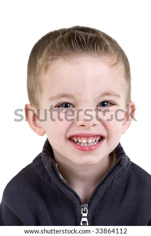 Happy boy portrait isolated on white