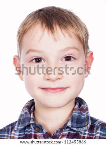 Happy boy portrait on white background