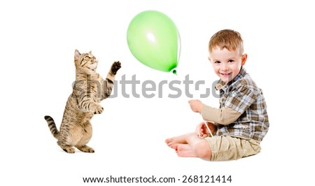 Happy boy sitting with balloon and playful cat Scottish Straight isolated on white background