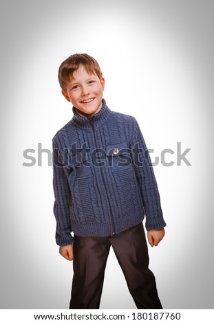 happy boy smiling cheerful childhood, carefree  smiling boy current emotion isolated on white background gray