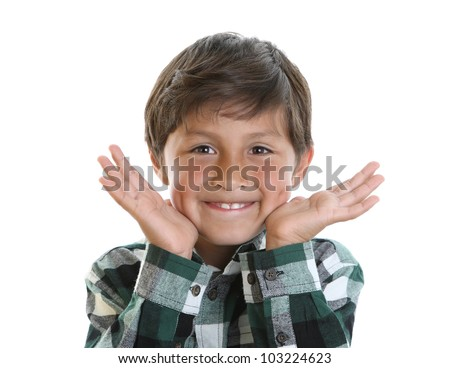 Happy boy smiling with hands next to his face - on white background