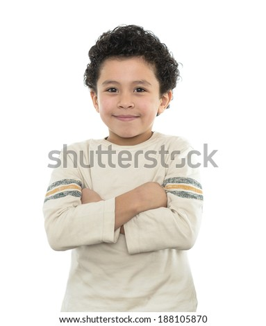 Happy Boy Smiling With His Arms Crossed Isolated on White - stock photo