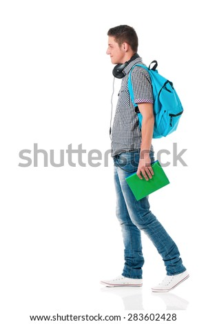 Happy boy student with backpack, isolated on white background - stock photo