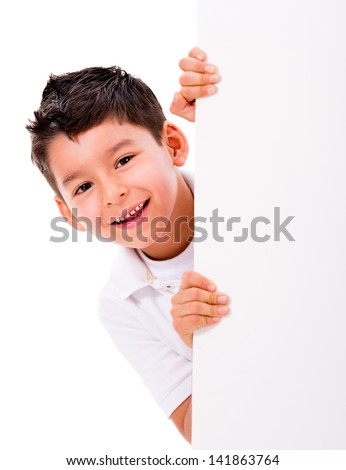 Happy boy with a banner - isolated over a white background - stock photo