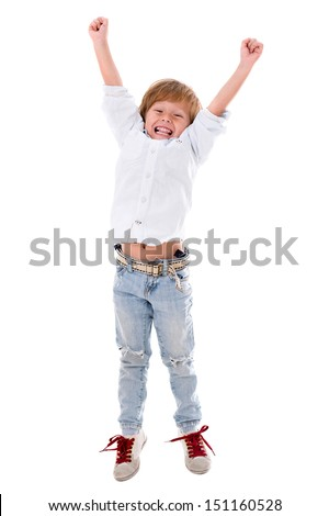 Happy boy with arms up - isolated over a white background  - stock photo