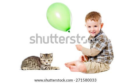 Happy boy with balloon and  kitten Scottish Straight sitting together isolated on white background