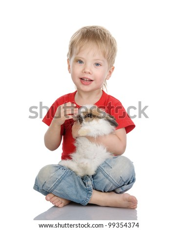 Happy boy with easter rabbit. isolated on white background - stock photo