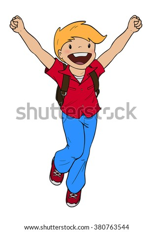 Happy boy with school backpack jumping