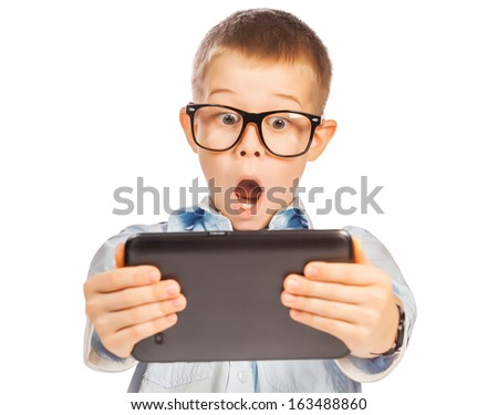 happy boy with tablet - stock photo