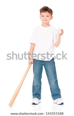 Happy boy with wooden baseball bat and ball, isolated on white background - stock photo
