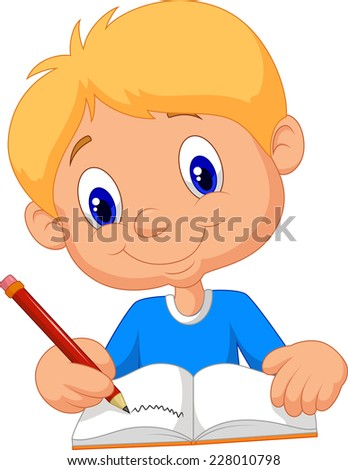 Happy boy writing in a book - stock photo