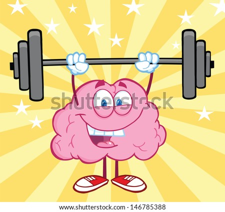 Happy Brain Cartoon Character Lifting Weights. Vector version also available in gallery - stock photo