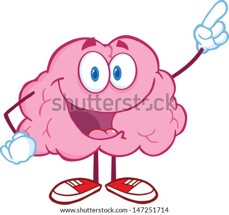 Happy Brain Character Pointing With A Finger. Vector version also available in gallery - stock photo
