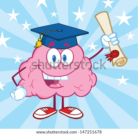 Happy Brain Graduate Holding up A Diploma. Vector version also available in gallery - stock photo
