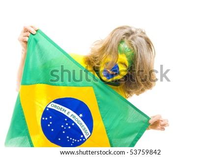 Happy Brazilian sport fan holding a flag - stock photo