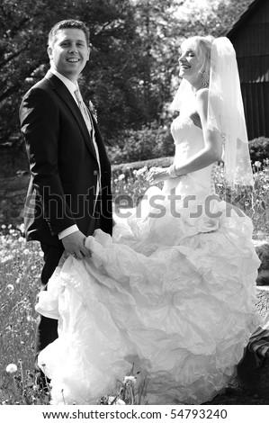 happy bridal couple - stock photo
