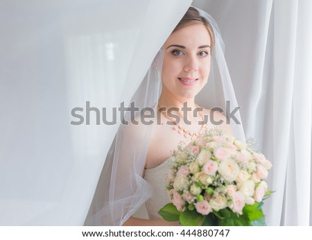 Happy bridal morning. Bride getting ready. Wedding photo