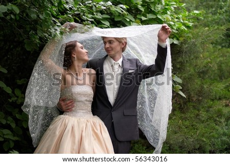 Happy bride and groom holding the wedding veil