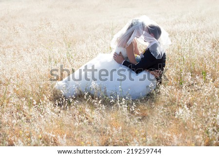Happy bride and groom on a bright sunny day - stock photo