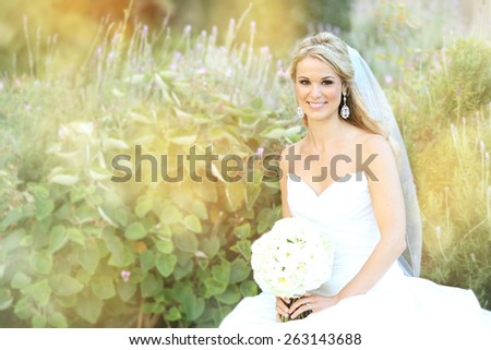Happy bride and groom on their wedding - stock photo